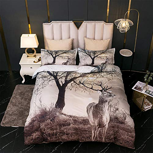 AHKGGM Duvet cover set King bed Forest animal deer Bedding 3 pcs Microfiber duvet cover 87x95 inch with zipper closure And 2 pillowcases 20x30 inch -for adults and children's bedrooms