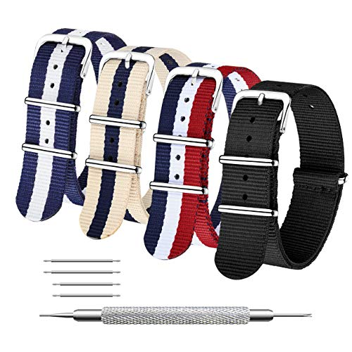 Correas de Nylon NATO Paquete de 4 18mm 20mm 22mm Balístico Zulu Correa para Reloj Hebilla de Acero Inoxidable (22mm, Black+Red White Navy+Linen Navy+Navy White)