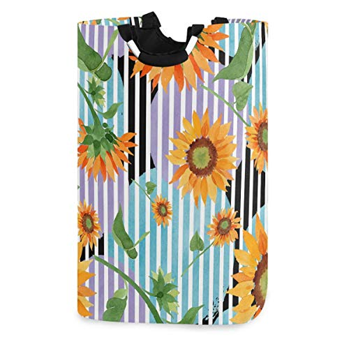 Lsjuee Watercolor Sunflower Floral Striped Laudry Hamper,Waterproof and Foldable Laundry Bag for Storage Dirty Clothes Toys in Bedroom,Bathroom Dorm Room