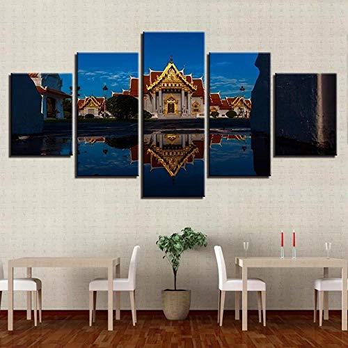 AWER 5 piezas de lienzo de arte de pared Iglesia de Templo Budista Imágenes Póster Impresión En Hd Estilo Abstracto Cuadro decoración Estilo Piasaje Regalo marco de madera 5 Piezas