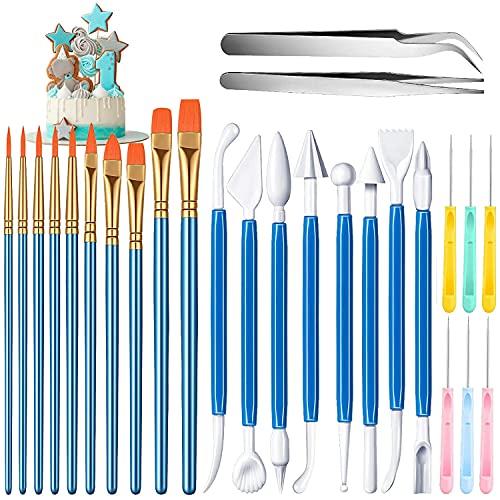 Set di 26 utensili per decorazione torte, strumenti per modellare, pennelli per decorazione biscotti, aghi per biscotti, aghi per pasta di zucchero, gomiti e pinzette dritte per decorazione torte