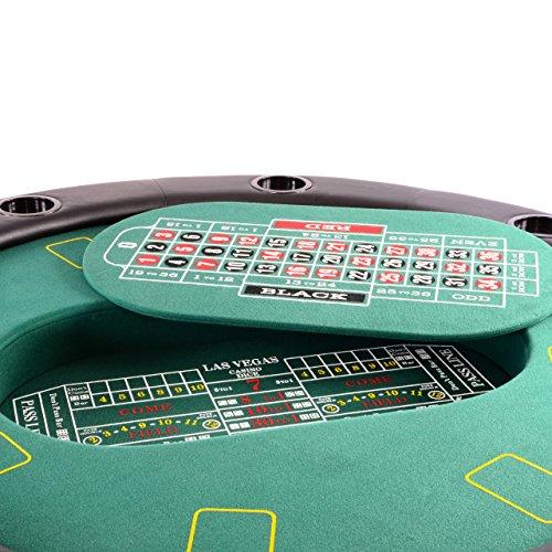Nexos Profi Casino Pokertisch klappbar Rund Ø 120 cm; 4 in 1 Spiele: Poker, Roulette, Black Jack, Craps inkl. Karten, 100 Chips und Zubehör - 5