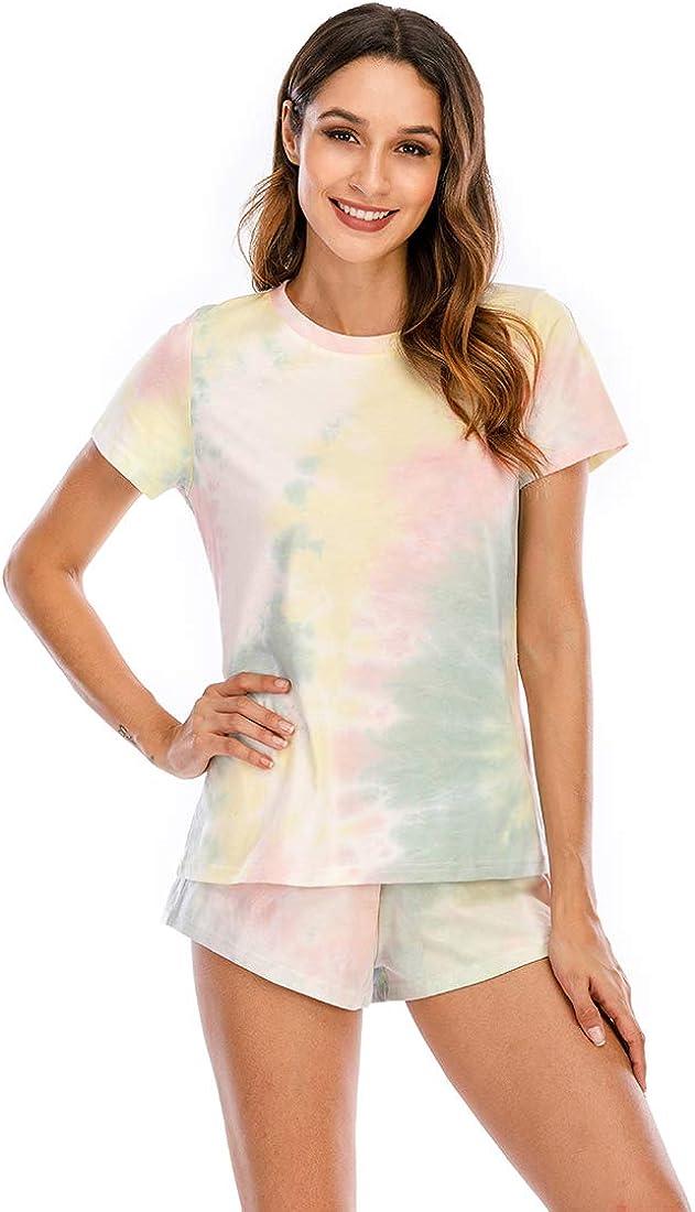 Veseacky Women's Tie Dye Printed Sleepwear Short Pajama Set Joggers PJ Sets Nightwear Loungewear S-XXL