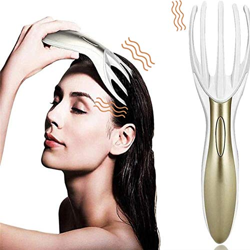 Tezam Electric Head Massager Neck Massage Octopus Scalp Stress Relax Spa Therapy Healing, Soft Resin Finger Gripper Claw Electronic Head Spa Vibration Scalp Massage Tool