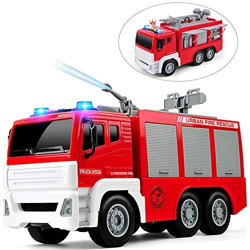 GizmoVine Feuerwehrauto mit Drehleiter und Wasserspritze Wasserpumpe,1:12 Spielzeugautos Reibung angetrieben BauSpielzeug mit Lichtern und Tönen für Jungen und Mädchen (850A)