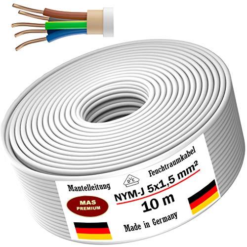 Feuchtraumkabel Stromkabel 5m, 10m, 20m, 50m oder 100m Mantelleitung NYM-J 5x1,5mm² Elektrokabel Ring für feste Verlegung (10m)