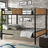Danxee Full-Over-Full bunk Modern Style Bed Easy Assembly Quick Lock Classic Metal Bunk Bed with Built-in Ladder for Bedroom, Dorm, Boys, Girls, Adults (Full Over Full)