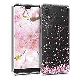 kwmobile Funda Compatible con Huawei P20 Pro - Carcasa de TPU y Flores Cerezo cayendo en Rosa Claro/marrón Oscuro/Transparente