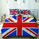 BGNHG Decorative Duvet Cover Sets Bed Sheets,Beige,British Union Jack Flag,3 Piece Bedding Set with 2 Pillow Cases Queen Size