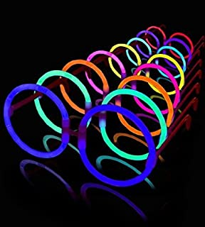 Lumistick 8 Inch Round Glow Eyeglasses with Connectors | Light Up Neon Glow Eyewear | Illuminating Eye-catching Party Wear | Non-Toxic & Kids Safe Fluorescent Specs (Assorted, 50 Eyeglasses)
