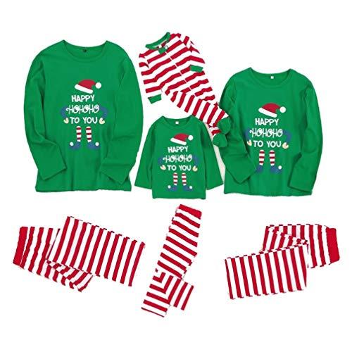 Sucastle Family Christmas Pyjamas Sets Langärmliges Baumwoll PJ T Und Hosen 2-teiliges Brief Und Plaid Nachtwäsche Size : XL(Women)