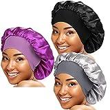 3 Pieces Wide Elastic Band Satin Sleep Bonnet Soft Night Sleeping Cap for Women Haircare