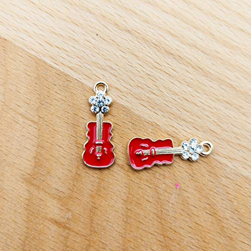 HGFJG 10Pcs Rhinestone Enamel Flower Guitar Shape Alloy Charms Pendant Diy Bracelet Earrings 9 * 22Mm