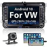 Hikity Android Radio de Coche para VW Skoda Seat Bluetooth Autoradio GPS Navegación Estéreo del Coche 7' Pantalla táctil con Enlace Espejo WiFi USB + Cámara visión Trasera