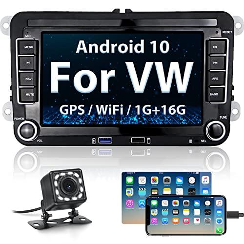 Android Autoradio Bluetooth für VW Golf Skoda Seat, Hikity Car Radio mit Navigation 7 Zoll Touchscreen Auto Android Radio FM 2USB WiFi Mirror Link + Rückfahrkamera