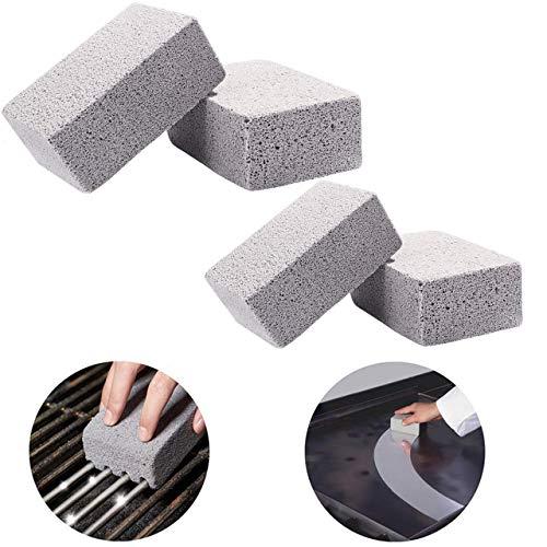 Slosy Piedra Limpieza Barbacoa Pack 4 Bloque para Parilla Ladrillo Limpiador de Plancha Reutilizable Esponja Pómez Gris Accesorios Cocina Limpiador Desinfectante Utensilios Barbacoas