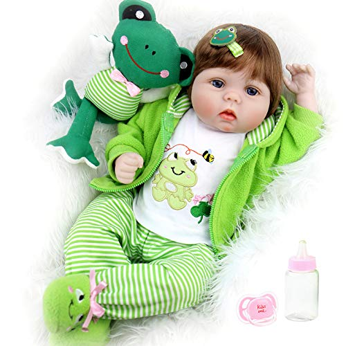 Aori Reborn Baby Dolls 22 inch,Realistic Handmade Reborn Girl Dolls with Frog Gifts,Soft Vinyl Kids Toys Age 3+, EN71 Certification