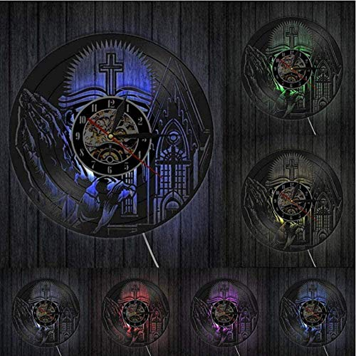 YDZYXY Regalo Reloj de Pared de Vinilo Reloj de Pared Jesucristo Decoración para Colgar en la Pared Vintage Home Art Deco Regalo 12 Pulgadas con LED-12 pulgadasUGT590