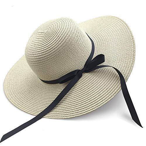 FunYun Sonnenhüte Floppy Faltbare Bowknot große breite Krempe Stroh Damenhüte Sommer Strandkappe UV-Schutz , L, beige