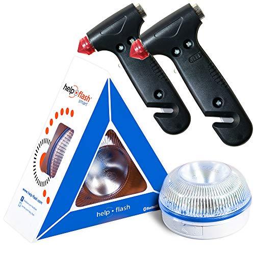 HELP FLASH SMART - luz emergencia AUTÓNOMA preseñalización de peligro y linterna, homologada, normativa DGT, V16, activación AUTOMÁTICA + 2x MARTILLO rompeventanas y cortador de cinturón de seguridad