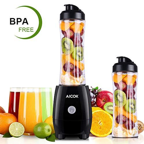 Aicok Mini Frullatore, Frullatore per Frullati e Smoothie, con Flacone da 600 ml Senza BPA, 4 Lame in Acciaio Inox, Frullatore Smoothie Maker per Frutta e Verdura
