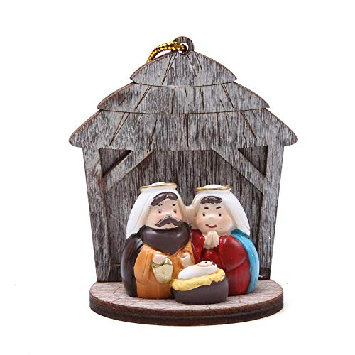 Nativity Sets for Christmas Indoor Mini Holy Family Figurine with Wooden for Ornament Hanging or Display on Mantel