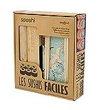 COOKUT - Coffret SOOSHI - Kit pour préparer de Magnifiques makis Sushi Super Facilement avec Appareil en Bambou, Baguettes et Livre de Recettes