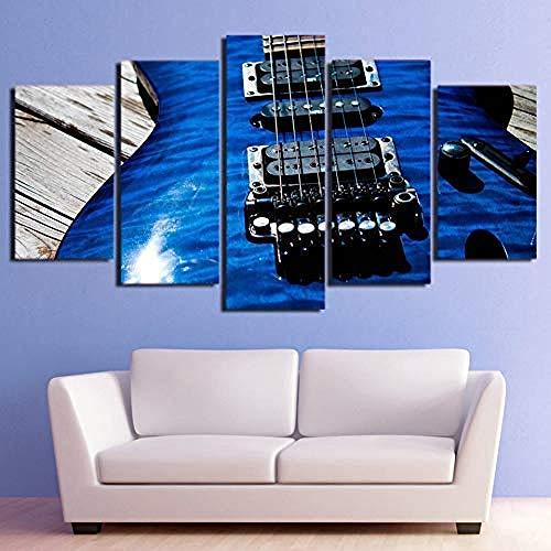 5 Leinwandplakate HD Gedruckt Leinwand Wandkunst Poster 5 Panel Musikinstrumente Blaue Gitarre Saiten Bilder Modulare Malerei Home Room Decor-Frameless