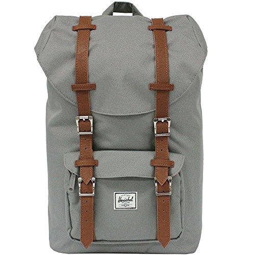 HERSCHEL SUPPLY ハーシェルサプライ Little America Backpack Mid-Volume リトルアメリカバックパックミッドボリューム リュックサック デイパック バッグ カバン 鞄 10020 Grey/Tan Synthetic Leather [並行輸入品]