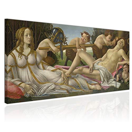 XXL Wandbild Leinwandbild 100x50cm, Mars und Venus, Göttin der Liebe und Gott Des Krieges, Italienische Renaissance - Sandro Botticelli - Panoramabild Keilrahmenbild, Bild auf Leinwand - Einteilig