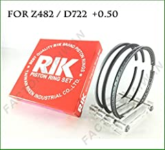 Engine Model :Z482 D722 Brand: Riken Taiwan Size: Oversize, 0.50mm Package Include : 1 Complete Piston Ring set of 1 Cylinder