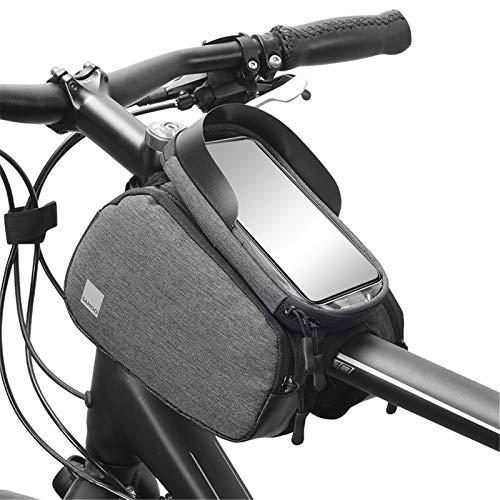 Bolsa Para Manillar De Bicicleta Bolsa Impermeable Para Marco Frontal De Bicicleta Con Pantalla Táctil Para Teléfono Inteligente Manillar De Almacenamiento De Tubo Superior Para Ciclismo (3 En 1)