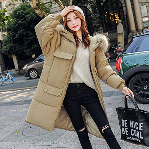 Xiaojie damesmantel van katoen mode extra lange zak dames winterjas katoen gewatteerde warme dikke Big Fur Collar Long Coats Womens Jackets