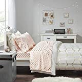 Intelligent Design Microfiber Wrinkle Resistant, Soft Sheets with 12' Pocket Modern, All Season, Cozy Bedding-Set, Matching Pillow Case, Twin, Metallic Dot Blush/Gold