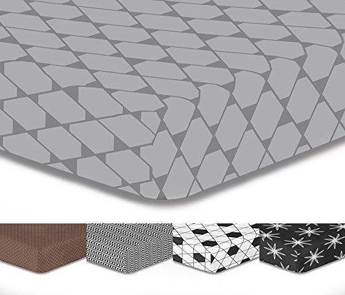 DecoKing Premium 92804 100x200 cm Spannbettlaken Steg 30 cm grau Stahl anthrazit Kariertes Muster Spannbetttuch Microfaser Bettwäschegarnituren Hypnosis Collection Rhombuses 1