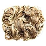 PIXNOR Perruque Court Bouclé Femmes Extension de Cheveux Chignon Postiches (Brun Clair)