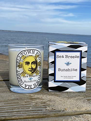 Seabreeze and Sunshine Candle Hand Poured 100% Soy Wax | 11oz Candle | Natural Essential Oil | Lead-Free Cotton Wick | 3.25' W x 4' H | 60-75 hrs Burn | Inspired by Provincetown Cape Cod |