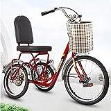 OHHG Triciclo Adultos 3 Ruedas Triciclo Adultos Bicicleta Crucero Marco Acero al Carbono Bicicleta montaña Compras Deportes Picnic al Aire Libre Cesta la Compra