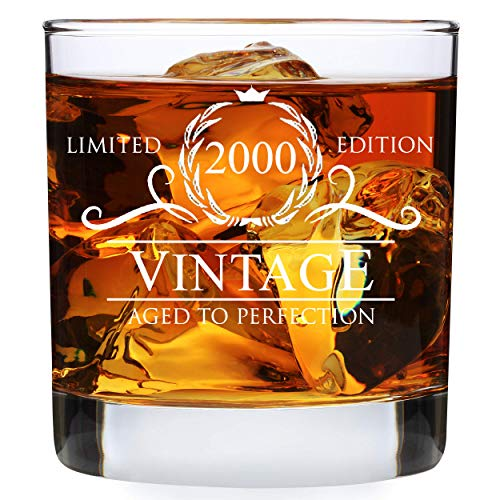 21st Birthday Gifts for Men - 2000 Birthday Gifts for Men 11 oz Whiskey Glass - 21 Birthday Gift Ideas for Men - 21 Year Old Gifts for Men Boyfriend Son Husband Friend Him