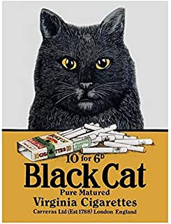 BinLtd Black Cat Cigarettes Vintage Style Metal Signs, Wall Decor Art Tin Sign, Decorative Coffee Bar Sign, 8x12 Inches