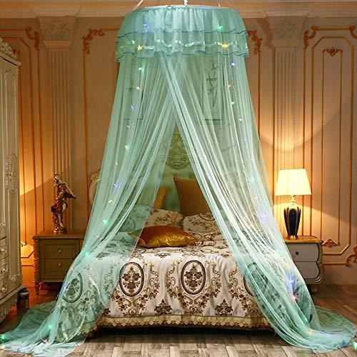 WWWL Baldachim na łóżko uniwersalny dziecięcy elegancki tiulowy łóżko kopuła siatka na łóżko baldachim okrągły różowy okrągły kopuła pościel moskitiera dla Twin Queen King green