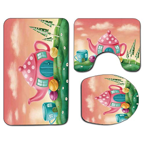 3Pcs Non-Slip Bathroom Rug Toilet Seat Lid Cover Set Fantasy Decor Soft Skidproof Bath Mat Fantasy Teapot and Teacup Houses Wonderland Meadow Teatime Happiness Artwork,Pink Green Absorbent Doormat Bed