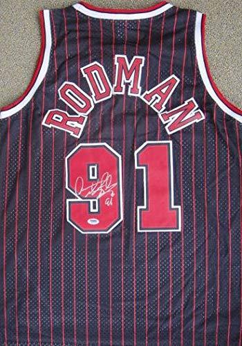 Dennis Rodman Signed BLACK Chicago Bulls Jersey PSA/DNA - Autographed NBA Jerseys