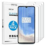 [4 Pack] OnePlus 7T Screen Protector - OMOTON Tempered Glass Screen Protector for OnePlus 7T, 6.55 Inch [High Definition] [Case Friendly] [Bubble Free], Not Full Coverage