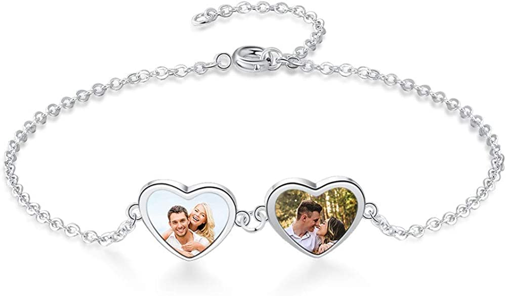 GEMSZOO Personalized Picture Bracelet for Women Adjustable Personalized Bracelet with Family Names Christmas Gift for women