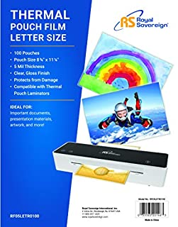 Royal Sovereign Heat Sealed Laminating Pouches 5 Mil Letter Size Clear Gloss (100 Pack) (RF05LETR0100) (B0036CNHTK) | Amazon price tracker / tracking, Amazon price history charts, Amazon price watches, Amazon price drop alerts