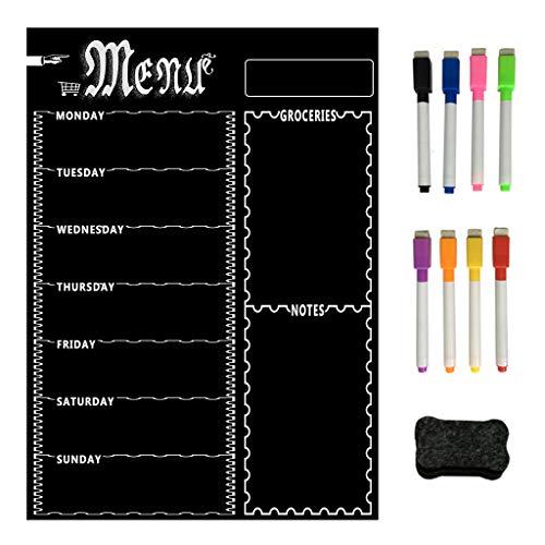 Magnetische Kühlschrank-Kreidetafel, Wochenmenü, Mahlzeitenplaner, Einkaufsliste, Tafel, für Küche, Kühlschrank.