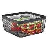 mDesign Caja multiusos de metal de 30,5 cm x 30,5 cm x 15,2 cm – Organizador de cocina, despensa, baño y más – Cesta de almacenaje de alambre, compacta y universal – negro