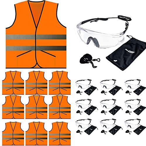 Orange Pocket Vest and Safety Glasses 10 sets (10 Glasses, 10 Pocket Safety Vests, 20 Items Total) (Orange)