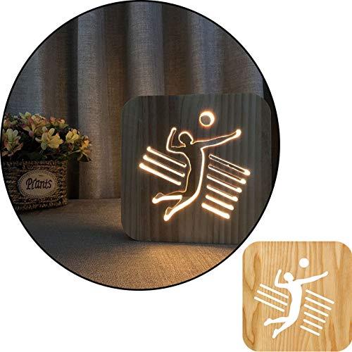 Postura de voleibol 3D Lámpara de mesa blanca tallada tallada de madera, lámpara de noche 2.5W, lámpara de vivero, decoración del hogar o regalos para niños y adultos, sala de estar de dormitorio